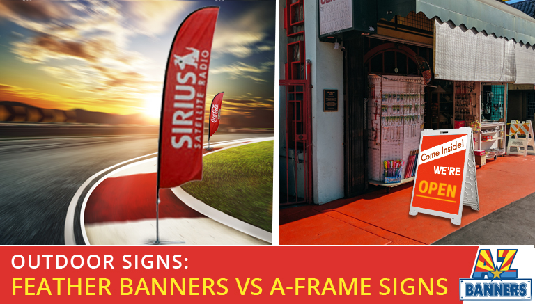 Which is better for your business: A-frame signs or feather discount banners