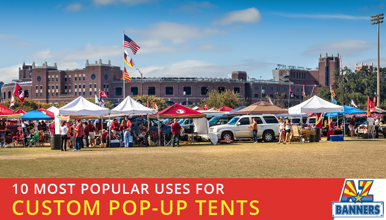 custom pop up tents from a custom shade tent printing company have many uses