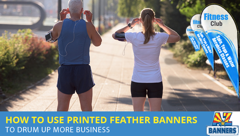 printed feather banners